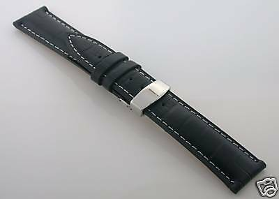 18MM LEATHER STRAP WATCH BAND DEPLOYMENT CLASP FOR MONTBLANC BLACK #1