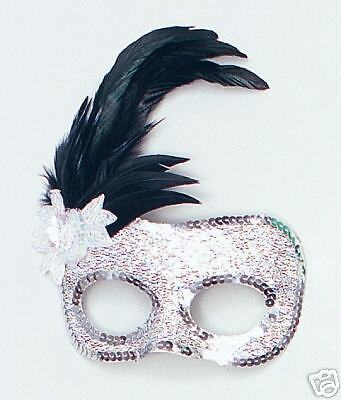 Silver Masquerade Ball Carnival Sequin Feather Eye Mask Fancy Dress NEW P1622