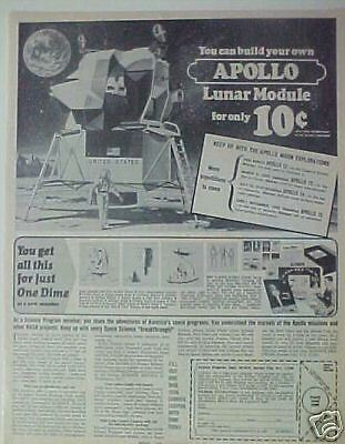1969 Apollo Lunar Module Space Model Kit Moon Photo Ad