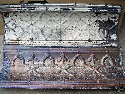 Antique 1886 Ceiling Tin Tile Pie Safe Door Gothic Fleur De Li Shabby Chic 4