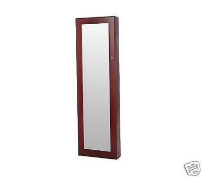 Cherry Jewelry Box Cabinet Armoire Wall, Safekeeper Footed Mirror Jewelry Cabinet