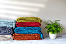 Luxury Chunky Chenille Knitted Sofa / Bed Throw Blanket in 7 Colours & 4 Sizes