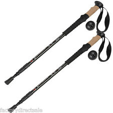 New Pair 2 Trekking Walking Hiking Sticks Poles Alpenstock Adjustable Anti-Shock
