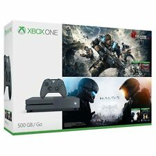 Xbox One S 500GB Console - Gears of War & Halo Special Edition Bundle  - Grey